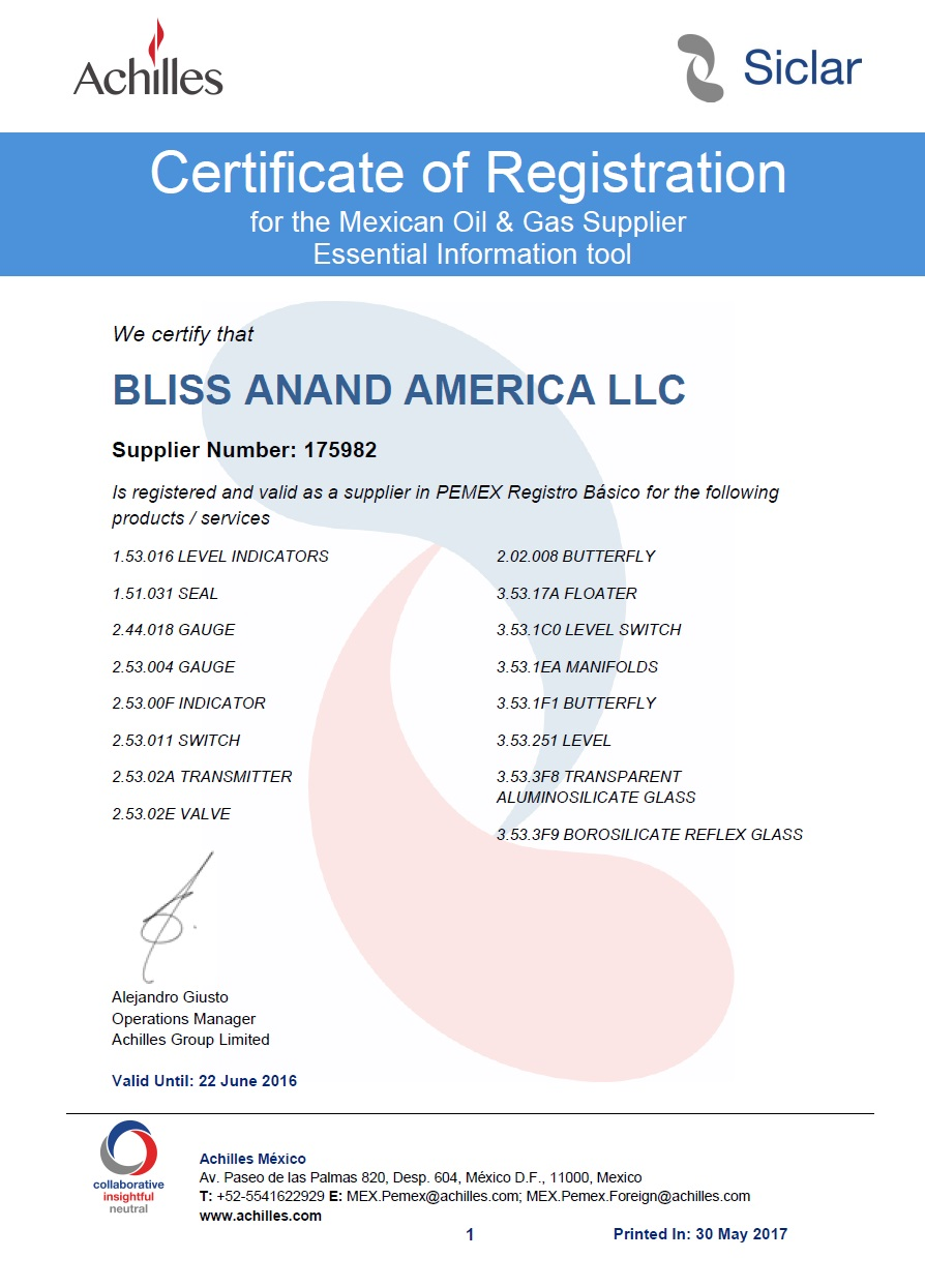 Bliss Anand Approvals & Certifications